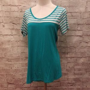 LuLaRoe Classic T Turquoise Blue Gray Striped